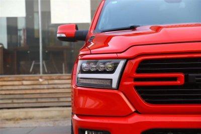 Dodge Ram 1500 2019-2021 Black LED Quad Projector Headlights DRL Dynamic Signal Activation