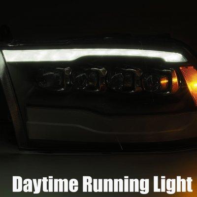 Dodge Ram 2009-2018 5th Gen Glossy Black Smoked LED Quad Projector Headlights DRL