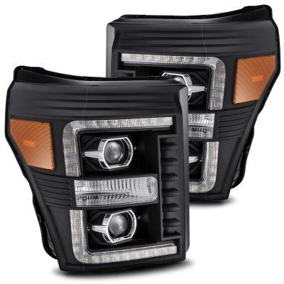 Ford F550 Super Duty 2011-2016 Black Projector Headlights LED DRL Dynamic Signal