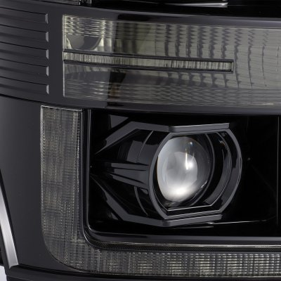Ford F550 Super Duty 2011-2016 Glossy Black Smoked LED Projector Headlights DRL Dynamic Signal Activation