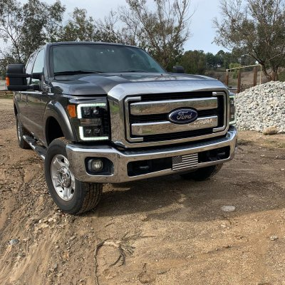 Ford F550 Super Duty 2011-2016 Glossy Black Smoked LED Quad Projector Headlights DRL Dynamic Signal Activation