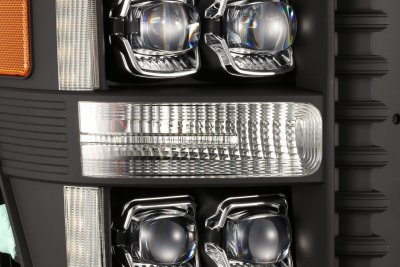 Ford F550 Super Duty 2011-2016 Black LED Quad Projector Headlights DRL Dynamic Signal Activation