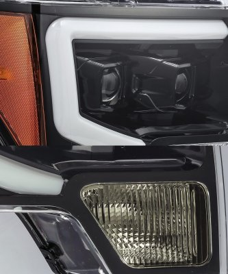 Ford F150 2009-2014 Glossy Black LED Projector Headlights DRL Dynamic Signal Activation