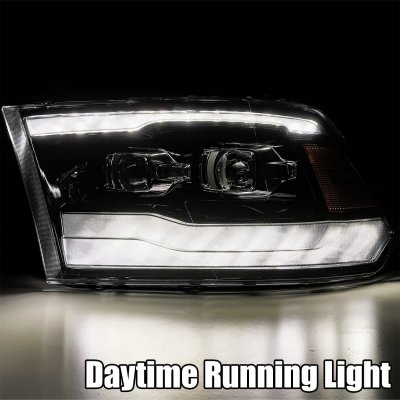 Dodge Ram 2009-2018 5th Gen Glossy Black Smoked LED Projector Headlights DRL Dynamic Signal Activation