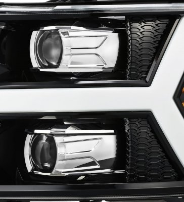 Chevy Silverado 2007-2013 Glossy Black LED Projector Headlights DRL Dynamic Signal Activation