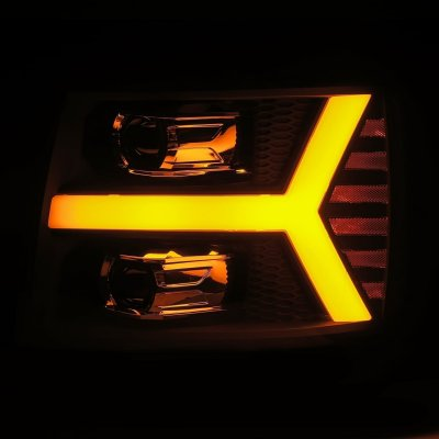 Chevy Silverado 2500HD 2007-2014 Glossy Black LED Projector Headlights DRL Dynamic Signal Activation