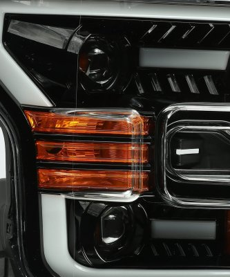Ford F150 2015-2017 Glossy Black LED Projector Headlights DRL Dynamic Signal Activation