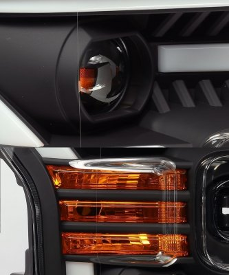 Ford F150 2015-2017 Black LED Projector Headlights DRL Dynamic Signal Activation