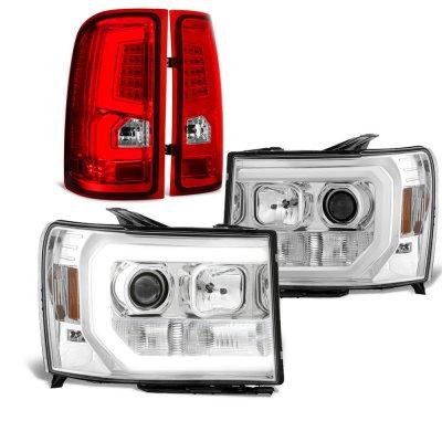 GMC Sierra 2007-2013 DRL Projector Headlights LED Tail Lights