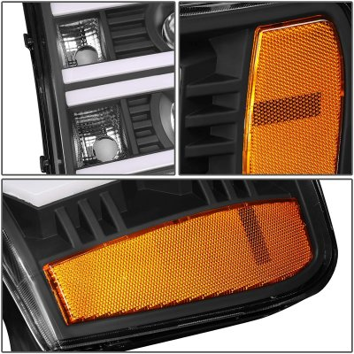GMC Sierra 2007-2013 Black Dual LED DRL Projector Headlights