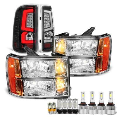 GMC Sierra 2007-2013 LED Bulbs Headlights Black LED Tail Lights