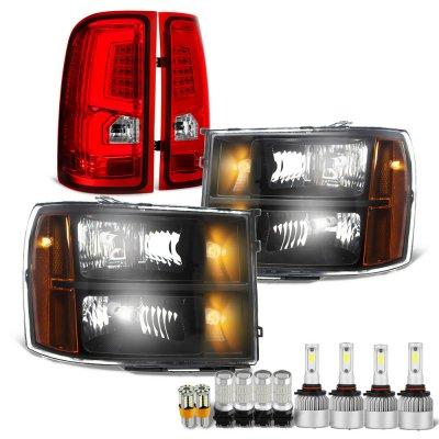 GMC Sierra 2007-2013 Black LED Bulbs Headlights Red LED Tail Lights