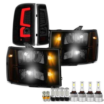 GMC Sierra 2007-2013 Black Smoked LED Bulbs Headlights LED Tail Lights