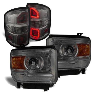 GMC Sierra 1500 2014-2015 Smoked Projector Headlights LED Tail Lights