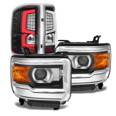 GMC Sierra 1500 2014-2015 Projector Headlights Black LED Tail Lights