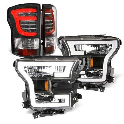 Ford F150 XL 2015-2017 Black DRL Headlights Custom LED Tail Lights
