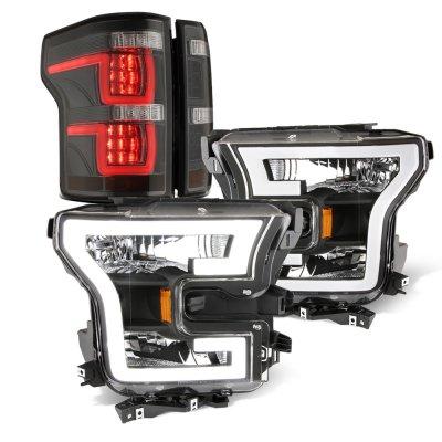 Ford F150 XL 2015-2017 Black DRL Headlights Smoked Full LED Tail Lights