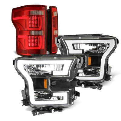 Ford F150 XL 2015-2017 Black DRL Headlights Full LED Tail Lights Red