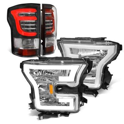 Ford F150 XL 2015-2017 DRL Headlights Black Custom LED Tail Lights