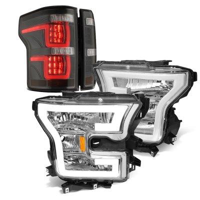 Ford F150 XL 2015-2017 DRL Headlights Smoked Full LED Tail Lights