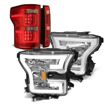Ford F150 XL 2015-2017 DRL Headlights Full LED Tail Lights Red