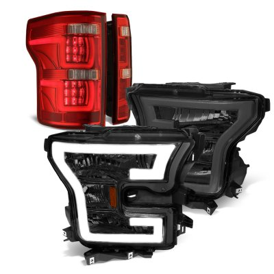 Ford F150 XL 2015-2017 Smoked DRL Headlights Full LED Tail Lights Red