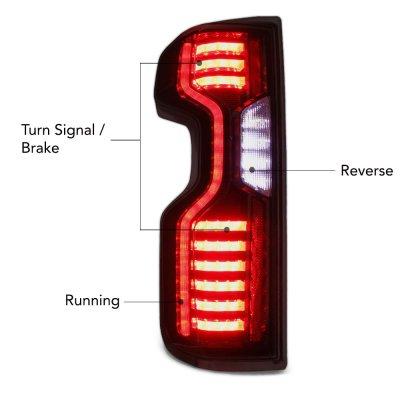 Chevy Silverado 3500HD LT 2020-2021 Black Smoked Custom LED Tail Lights