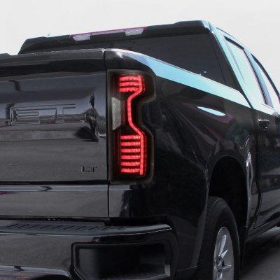 Chevy Silverado 1500 LT 2019-2021 Black Smoked Custom LED Tail Lights