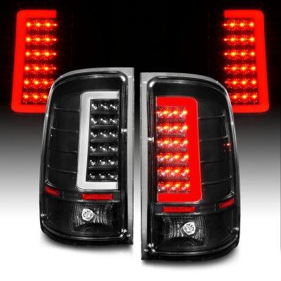 GMC Sierra 2007-2013 Black Tube LED Tail Lights
