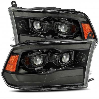 Dodge Ram 2009-2018 5th Gen Glossy Black Smoked Projector Headlights LED DRL Dynamic Signal
