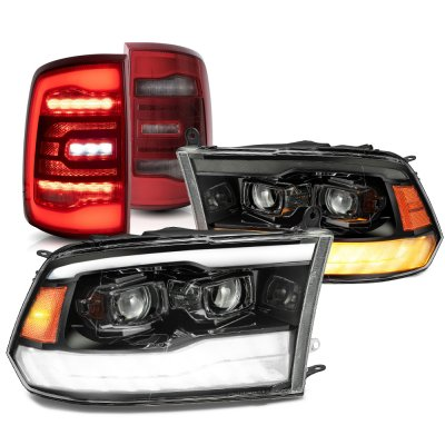 Dodge Ram 2009-2018 5th Gen Black Smoked Projector Headlights Red LED Tail Lights