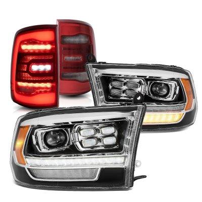 Dodge Ram 2009-2018 HD Black Projector Headlights Red LED Tail Lights