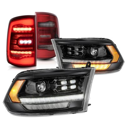 Dodge Ram 2009-2018 HD Black Smoked Projector Headlights Red LED Tail Lights