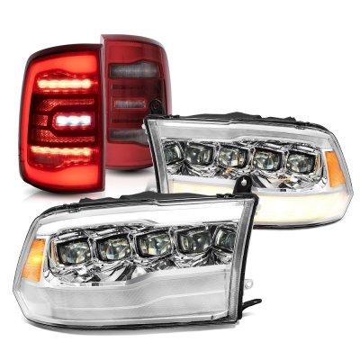 Dodge Ram 2009-2018 LED Quad Projector Headlights LED Tail Lights