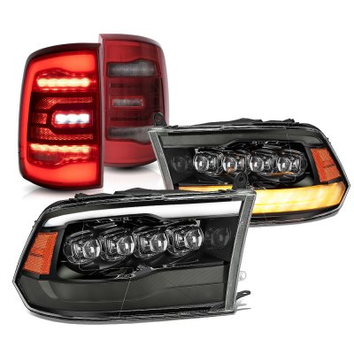 Dodge Ram 2009-2018 Black Smoked LED Quad Projector Headlights Red LED Tail Lights