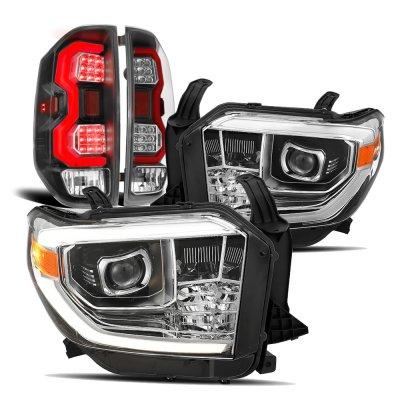 Toyota Tundra 2014-2021 DRL Projector Headlights Black LED Tail Lights