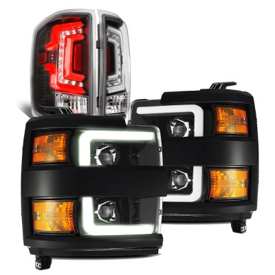 Chevy Silverado 2500HD 2015-2019 Black DRL Projector Headlights Custom LED Tail Lights