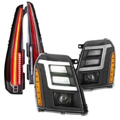 Cadillac Escalade 2007-2014 Black DRL Projector Headlights Full LED Tail Lights Conversion