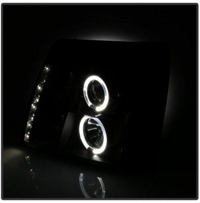 Cadillac Escalade 2003-2006 Black Halo Projector Headlights with LED