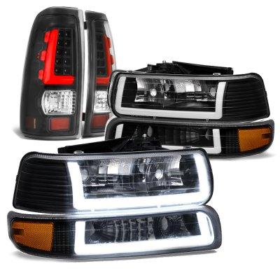 Chevy Silverado 1999-2002 Black DRL Headlights Custom LED Tail Lights