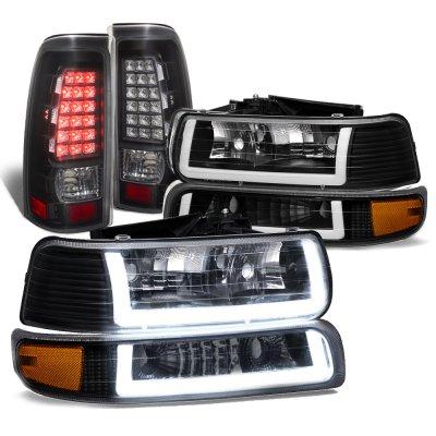 Chevy Silverado 1999-2002 Black DRL Headlights LED Tail Lights