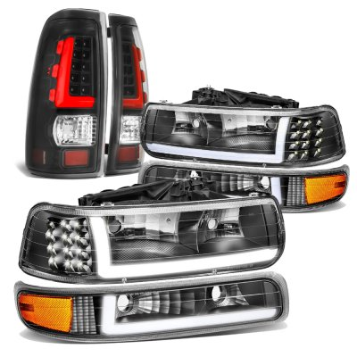 Chevy Silverado 1999-2002 Black DRL Headlights LED Signals LED Tail Lights