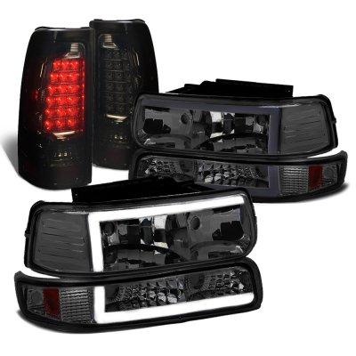 Chevy Silverado 1999-2002 Smoked Tube DRL Headlights LED Tail Lights