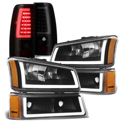 Chevy Silverado 2003-2006 Black DRL Headlights Tinted LED Tail Lights