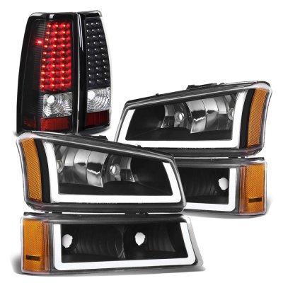 Chevy Silverado 2003-2006 Black DRL Headlights LED Tail Lights