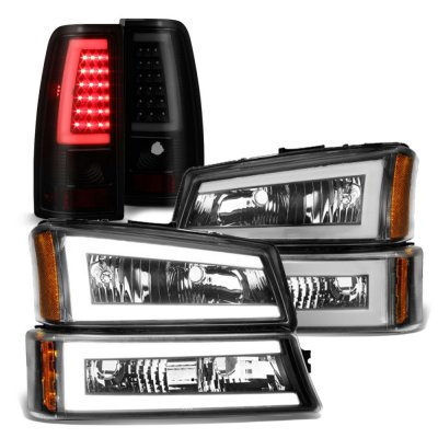 Chevy Silverado 2003-2006 Black Tube LED DRL Headlights Tinted Tail Lights