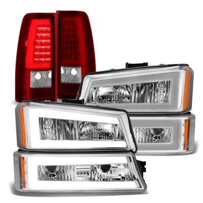 Chevy Silverado 2003-2006 Tube LED DRL Headlights Tail Lights