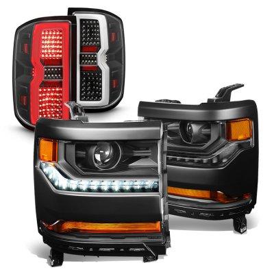 Chevy Silverado 1500 2016-2018 Black HID Projectors Headlights LED Tail Lights