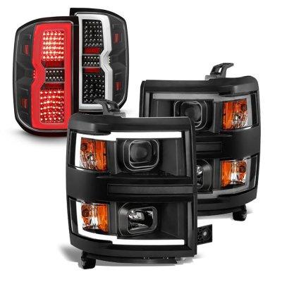 Chevy Silverado 1500 2014-2015 Black DRL Projector Headlights LED Tail Lights