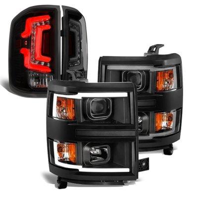 Chevy Silverado 1500 2014-2015 Black DRL Projector Headlights Smoked Custom LED Tail Lights